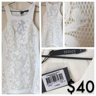 White Lace Seduce Dress -Spring Races