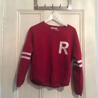 Red Crop Jersey Jumper