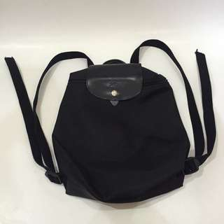 Auth. longchamp Planettes All Black Backpack