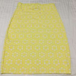 Yellow And White Floral Skirt