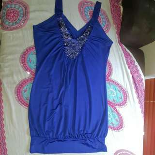 Womens Size 8 Satin Royal Blue Valley Girl Tunic Mini Dress