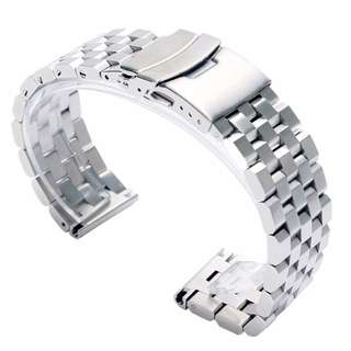 High Quality Solid Super Engineer Watchband (Flat End Link) - 20mm, 22mm, 24mm (Silver / Black PVD)