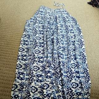 Blue And White Print Genie Pants