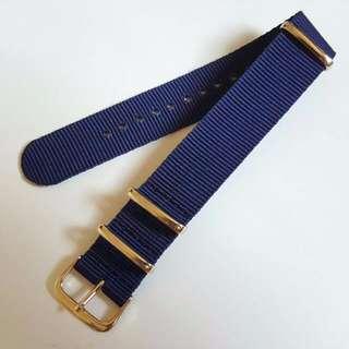 Gold Buckle & Ring Nylon Nato Watch Strap - 20mm Blue
