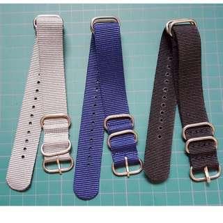 Zulu 5 Rings Watch Straps - Black / Blue / Grey [20, 22, 24mm]