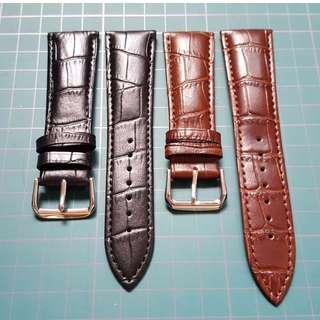 24mm - Crocs Grain Genuine Cow leather Watch Strap [Coffee, Black, Black]