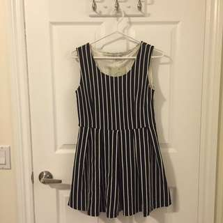 White Stripped Little Black Dress
