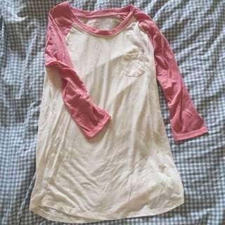SPAO粉X米色拼接七分袖口袋棒球Tshirt L號