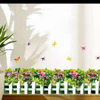圍欄造型+花形可移除牆腳貼(現貨)