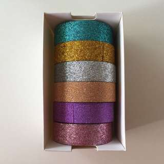 6 Rolls Of Glitter Washi Tapes Combo Pack Solid Colours QC2133