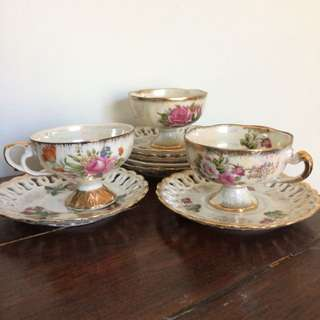 Floral Tea Cups (6 Plates, 3 Cups)