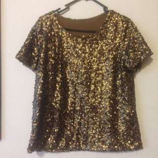 Gold Vintage Sequin Top Shirt Going Out Formal