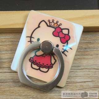 KT貓叮噹貓米奇美國隊長海賊王航海王可愛創意卡通 通用卡扣式粘貼式指環鐳射藍光手機支架