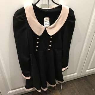 粉領黑配色洋裝