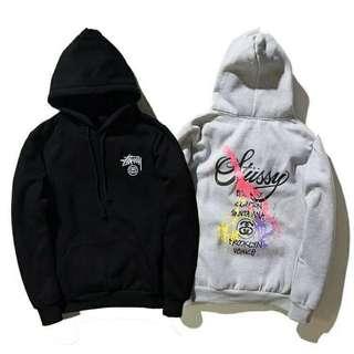 stussy 立體刺繡 後潑染 純棉刷毛長袖帽TEE 情侶款 黑色 灰色 尺寸:M L XL