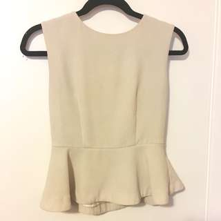Beige Peplum Top