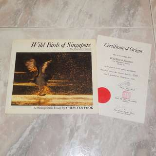 Wild Birds Of Singapore Book 1989 With Certificate Of Origin Chew Yen Fook