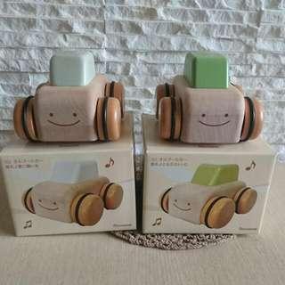 🚚 日本製🍄NICHIGAN兒童玩具/音樂盒/ 音樂鈴聲原木車車【深綠OG3】【淺綠OG2】