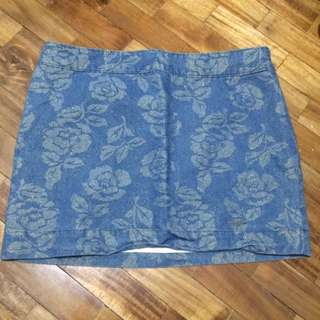 Abercrombie and Fitch Floral Denim Mini Skirt