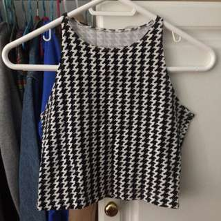 American Apparel Houndstooth Crop Top