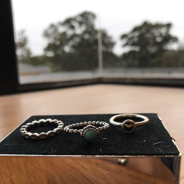 3 x Pandora Rings