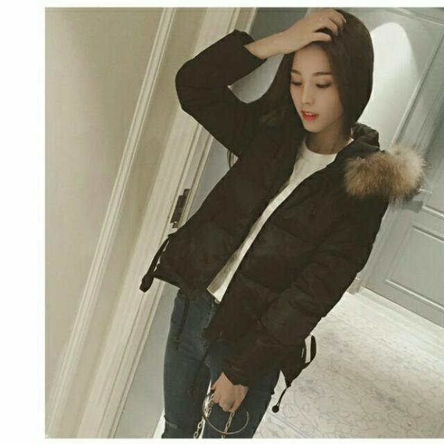 短款 黑色 毛絨外套 保暖 全新 S