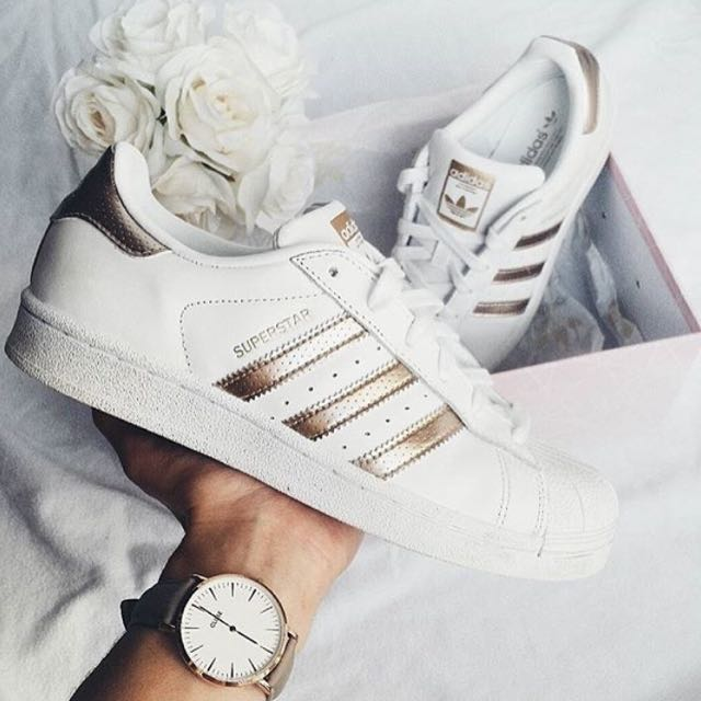 adidas originals superstar in rose gold, frauen - mode, schuhe