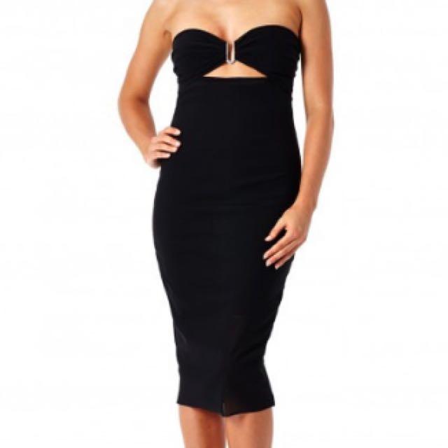 Bec & Bridge Strapless Dress Black Mesh Sz 6