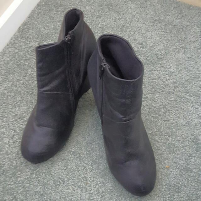 Black Wedge Boots - Size 40