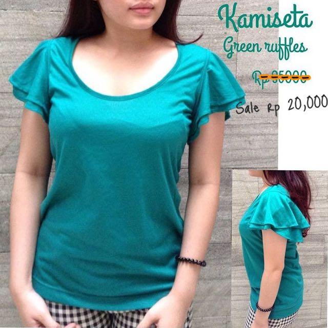 Brand : Kamiseta Green Ruffles Baju Atasan Casual Hijau
