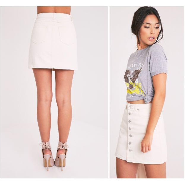 Emelian Stone Button Through Mini Skirt