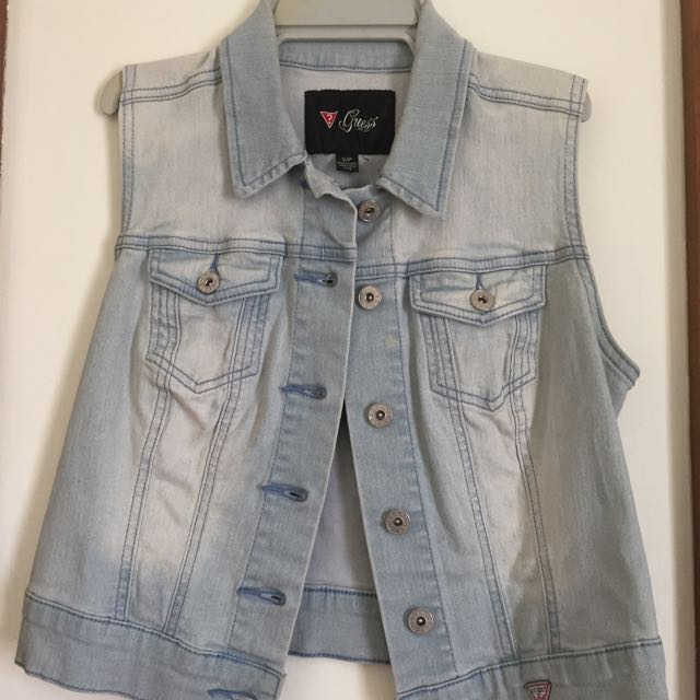 Guess Denim Cropped Vest Size Small