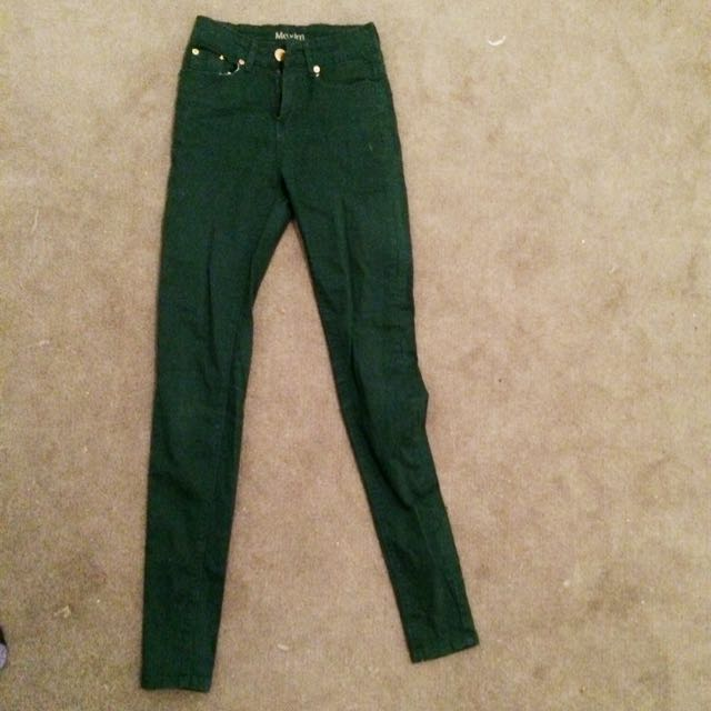 High Wasted Forest Green Jeans