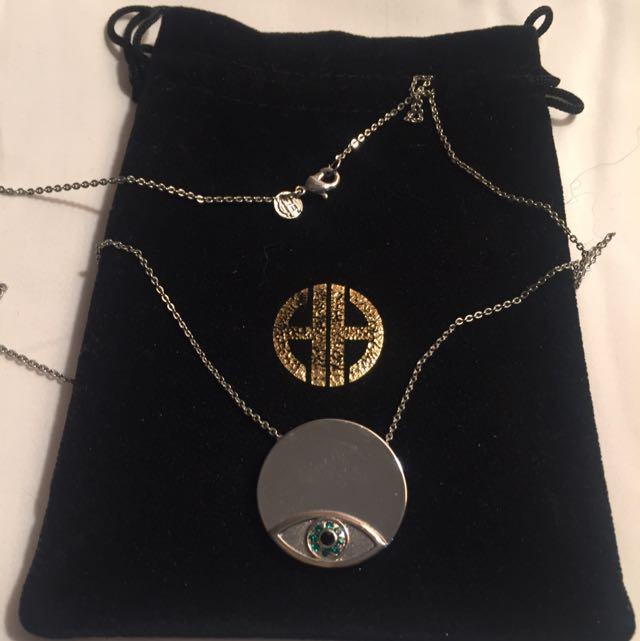 House Of Harlow Authentic Silver Plated Evil Eye Necklace
