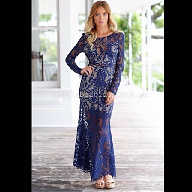 Lace Maxi Dress (Navy)