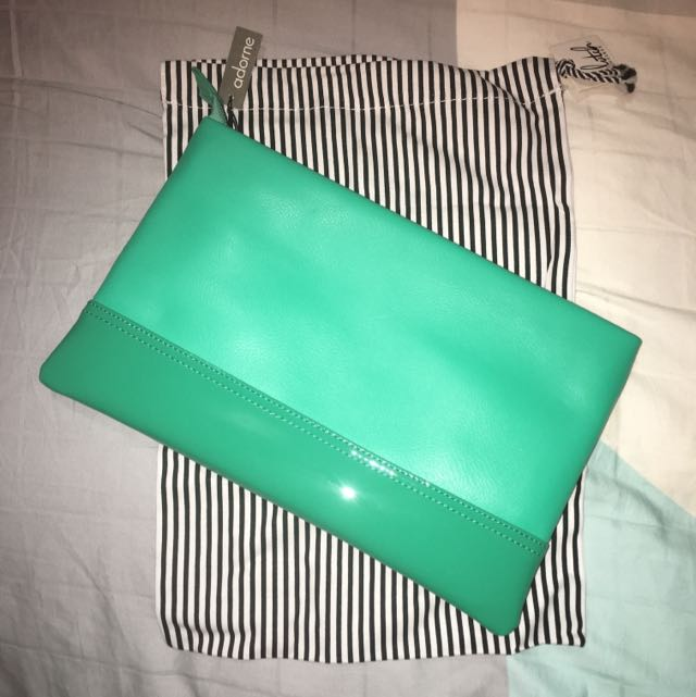 Large Green Adorne Clutch And Shoe Bag