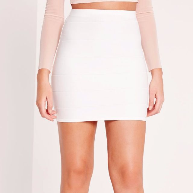 New White Bandage Mini Skirt Misguided