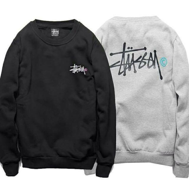 stussy 世界巡遊 小logo 純棉刷毛長袖大學TEE 情侶款 黑色 灰色 尺寸:M L XL