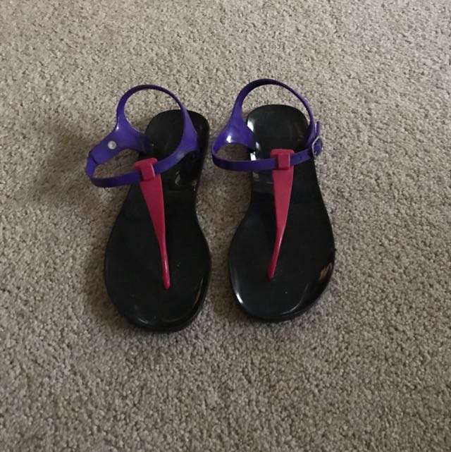 Women's Sandals Black With Pink And Purple
