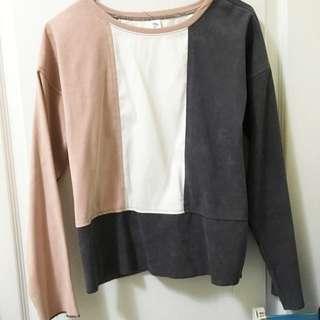 🌹SALE🌹秋冬麂皮長袖寬版上衣