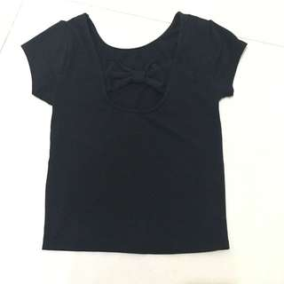 F21 Back Bow Black Crop Top