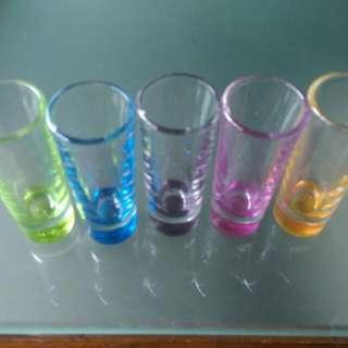 Set Of Five 2 Ounce Shot Glasses