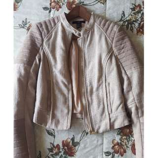 H&M Light Taupe/Blush Motorcycle Jacket Size 2