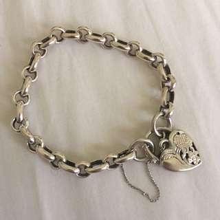 Heart Clasp Bracelet -Sterling Silver