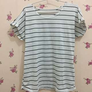 Kaos stripe white & black