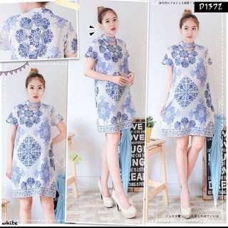 New Etnic Dress White Blue