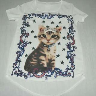 Cat Design Blouse with Pearl Detail