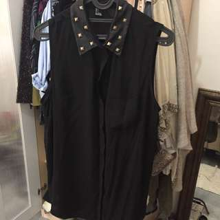 Forever 21 Black Studded Shirt Size L