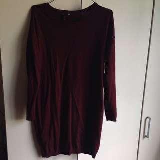 H&M BURGUNDY LONG SLEEVE DRESS