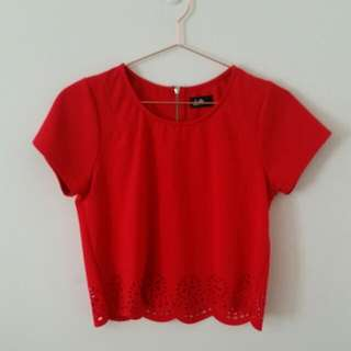 Red Laser Cut Boxy Cropped Top Sz S